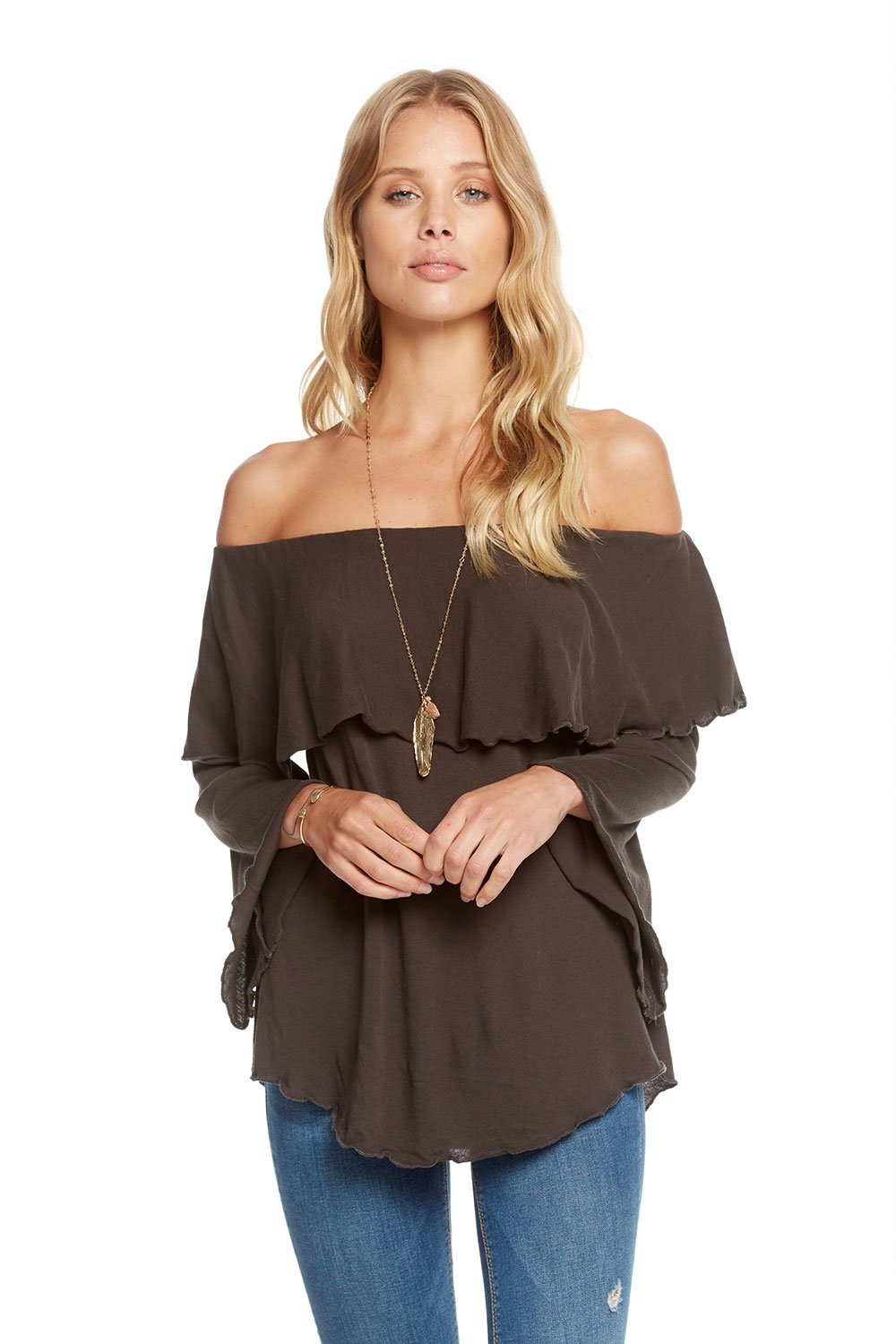 Chaser Gauzy Cotton Jersey Off Shoulder Shirttail Ruffle Boho Top CW7155