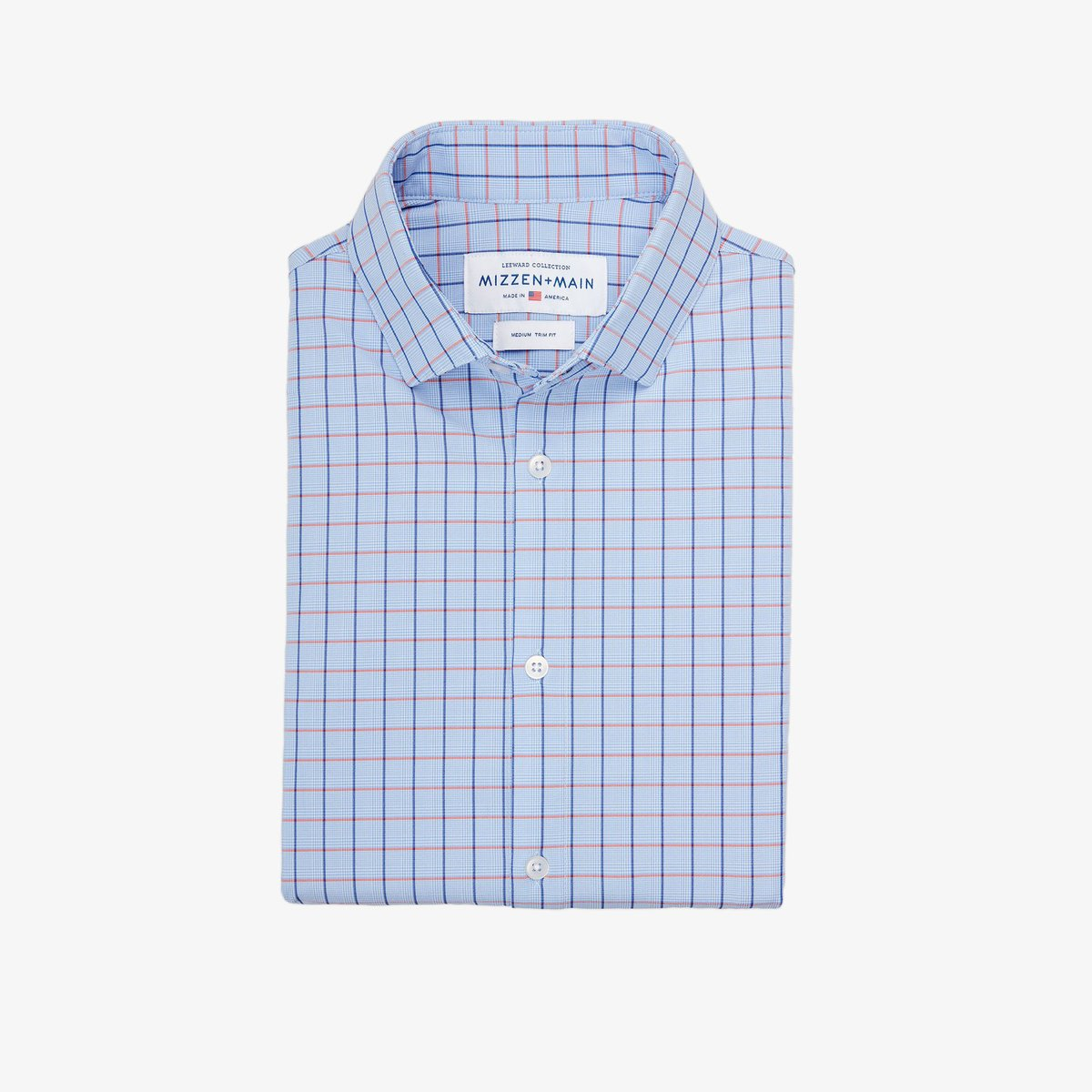Mizzen+Main Warren Light Blue Multi Check Button Down Shirt L-9016