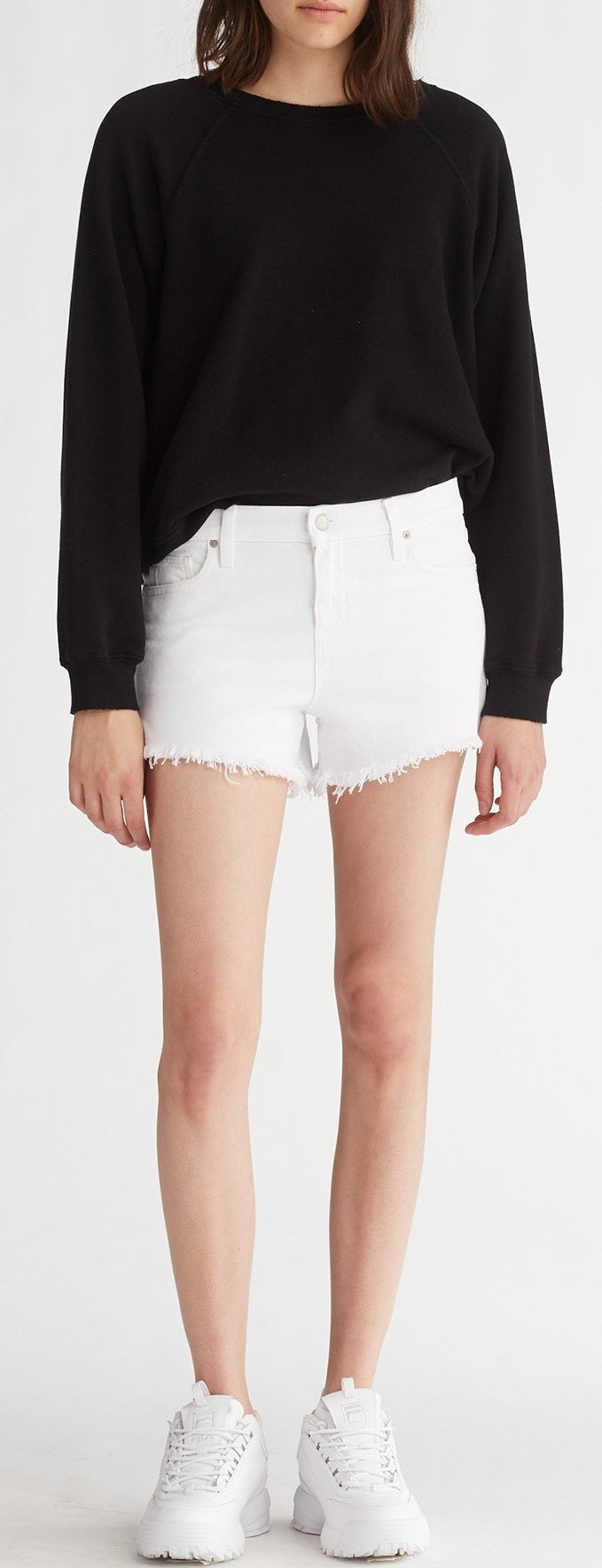 Hudson Gemma Midrise Cut Off Short in White WMR644DWM