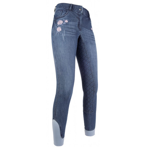Rose Embroidered Denim Full Seat Breeches