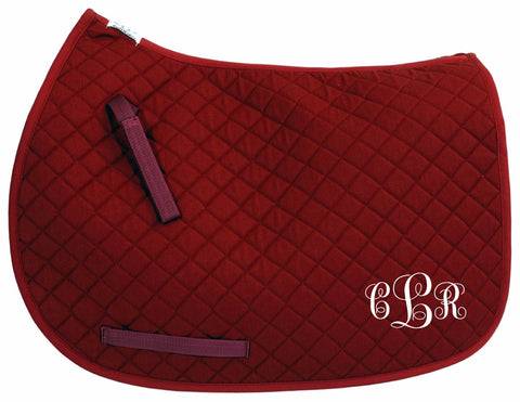 Burgundy All Purpose or Pony Monogram Embroidered personalized Saddle Pad