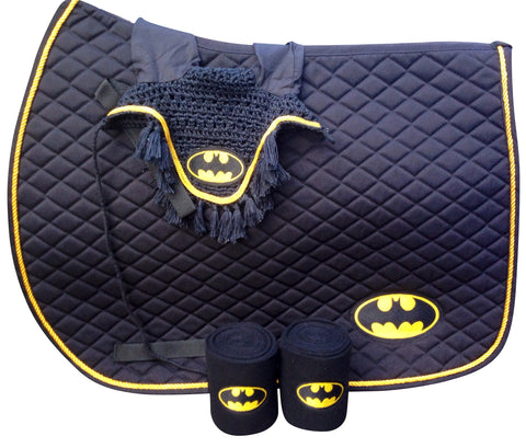 Batman Logo Embroidered Set Saddle Pad, Polo Wraps and Fly Bonnet - The Houndstooth Horse  - 1