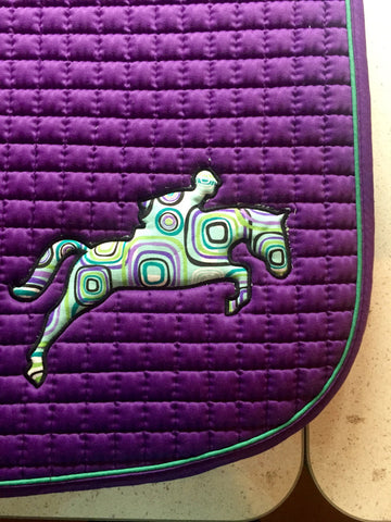 READY TO SHIP *Jumper Appliqué Embroidered A/P Pad - The Houndstooth Horse