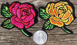 Embroidered Rose Patch red, yellow, pink or purple iron on sew on glue on - The Houndstooth Horse  - 2