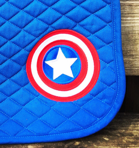 Captain America Logo Embroidered Saddle Pad - The Houndstooth Horse