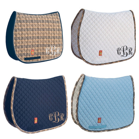 Embroidered Monogram Baker Plaid A/P Pad - The Houndstooth Horse  - 1