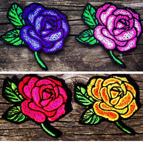 Embroidered Rose Patch red, yellow, pink or purple iron on sew on glue on - The Houndstooth Horse  - 1