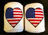 USA Flag Heart Embroidered Polo Wraps - The Houndstooth Horse  - 1