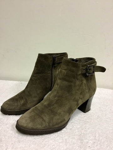 BLUE VELVET BROWN SUEDE HEELED ANKLE BOOTS SIZE 6.5/39.5