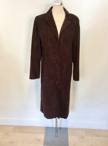 ALTERNA DARK BROWN SUEDE KNEE LENGTH COAT SIZE 3 UK 14/16