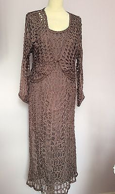 Gina Bacconi Mauve Crocheted Dress & Matching Cardigan Size 16 - Whispers Dress Agency - Womens Special Occasion - 1