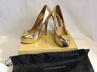 Brand New French Connection Gold Metalic Platform Heels Size 3/36 - Whispers Dress Agency - Sold - 1