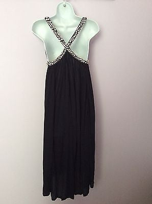 Amanda Wakeley Black Diamante Straps Pleated Cocktail Dress Size 8 - Whispers Dress Agency - Womens Eveningwear - 3