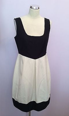 Jesire Black & Ivory Cotton & Mulberry Silk Dress Size 10 - Whispers Dress Agency - Sold - 1