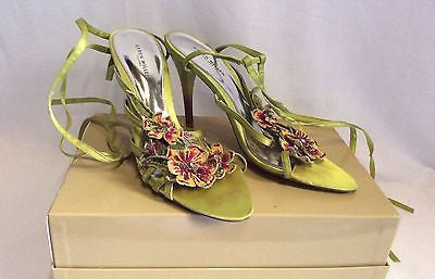 Karen Millen Lime Green Satin Jewelled Flower Trim Tie Leg Sandals Size 7/40 - Whispers Dress Agency - Womens Occasion & Evening Shoes - 1
