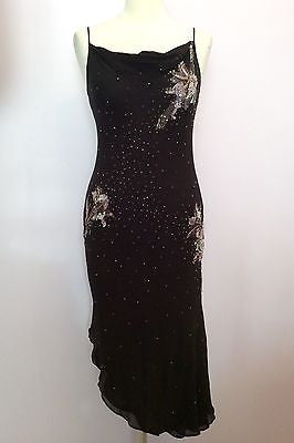 Pearce Fionda Black Silk & Sequined Pink Flower Trim Dress Size 10 - Whispers Dress Agency - Womens Eveningwear - 1
