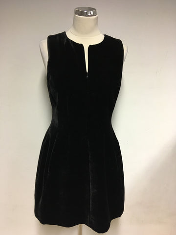 ARMANI EXCHANGE BLACK VELVET ZIP FRONT DRESS SIZE 8 UK 12