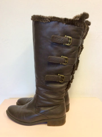 ARA DARK BROWN LEATHER BUCKLE TRIM FAUX FUR TRIM FLAT BOOTS SIZE 4.5/37.5