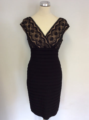 ADRIANNA PAPELL BLACK & NUDE LACE STRETCH WIGGLE/ PENCIL DRESS SIZE 10