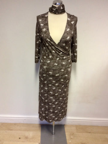 BETTY BARCLAY BROWN & WHITE PRINT WRAP DRESS SIZE 10