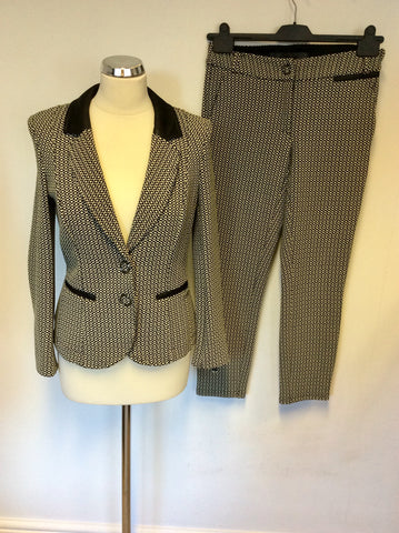 AIRFIELD BLACK & WHITE PRINT JACKETS & CAPRI PANT TROUSER SUIT SIZE 8