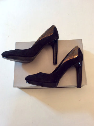 BRAND NEW MARKS & SPENCER AUTOGRAPH BLACK SUEDE & BRONZE TRIM HEELS SIZE 4.5/37
