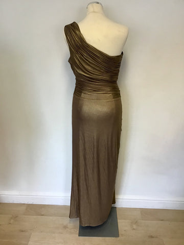 BIBA BRONZE METALLIC ONE SHOULDER GRECIAN STYLE LONG EVENING DRESS SIZE 16