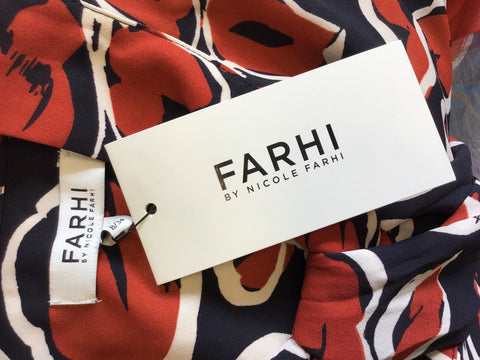 BRAND NEW NICOLE FARHI NAVY,RED & IVORY FLORAL PRINT TIE NECK DRESS SIZE XS UK 8