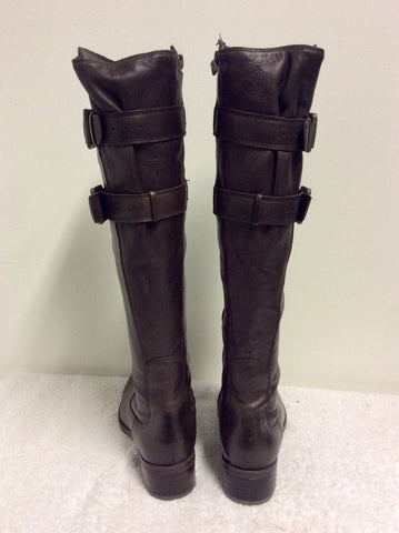 BRAND NEW CLARKS CONFORT DARK BROWN LEATHER KNEE LENGTH BOOTS SIZE 3/35.5