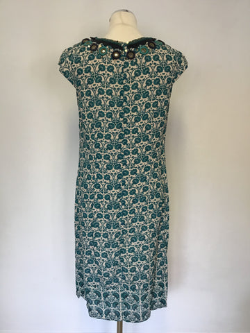 BAND NEW MONSOON CREAM,GREEN & NAVY FLORAL PRINT SHIFT DRESS SIZE 10