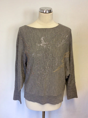 AIRFIELD GREY WOOL BATWING SLEEVE JUMPER WITH GOLD & SILVER SPARKLE DETAIL SIZE 12