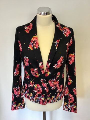 BANANA REPUBLIC DARK BLUE FLORAL PRINT COTTON JACKET SIZE 6 UK 10