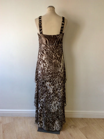 BANDOLERA BROWN ANIMAL PRINT BEADED TRIM TIERED MAXI DRESS SIZE 12