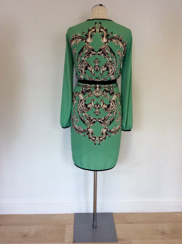 BCBGMAXAZRIA MINT GREEN PRINT BELTED DRESS SIZE XXS