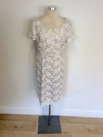 BEIGE & WHITE LACE SHORT SLEEVE PENCIL DRESS SIZE 14