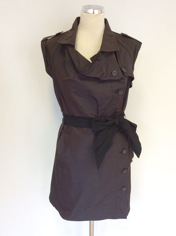 ALL SAINTS BROWN AZIZA BELTED TRENCH STYLE DRESS SIZE 8