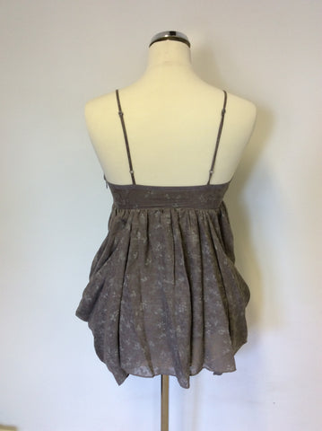 ALL SAINTS THEO LIGHT BROWN STRAPPY SMOCK TOP SIZE 8