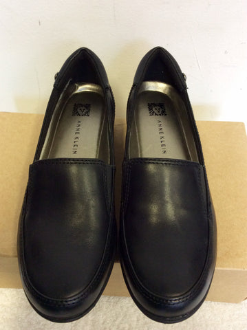 ANNE KLEIN I FLEX BLACK LEATHER WEDGE HEEL FLATS SIZE UK 3
