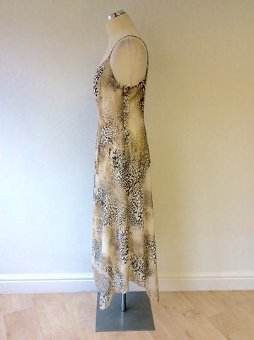 BETTY BARCLAY BROWN & CREAM PRINT STRAPPY DRESS SIZE 14