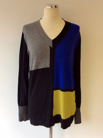 BETTY BARCLAY BLACK,GREY,BLUE & GREEN V NECK JUMPER SIZE 14