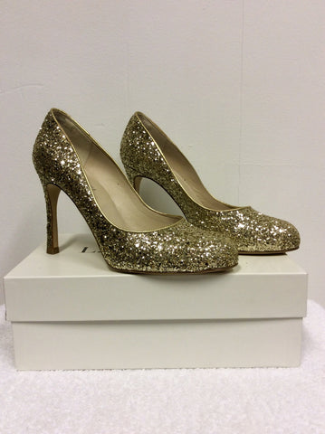BRAND NEW LK BENNETT DOTTIE GOLD GLITTER HEELS SIZE 7/40 - Whispers Dress Agency - Womens Heels - 2