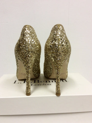 BRAND NEW LK BENNETT DOTTIE GOLD GLITTER HEELS SIZE 7/40 - Whispers Dress Agency - Womens Heels - 4