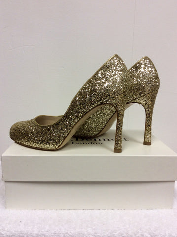 BRAND NEW LK BENNETT DOTTIE GOLD GLITTER HEELS SIZE 7/40 - Whispers Dress Agency - Womens Heels - 3
