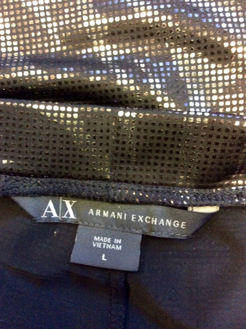 BRAND NEW ARMANI EXCHANGE BLACK & SILVER PRINT LEGGINGS SIZE L - Whispers Dress Agency - Womens Trousers - 2