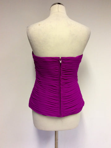 BRAND NEW FRANK USHER FUSCHIA PINK PLEATED CORSET TOP SIZE 16 - Whispers Dress Agency - Womens Tops - 3