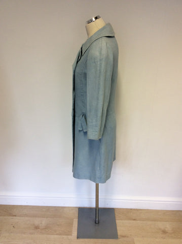 ALL SAINTS LIGHT BLUE LINEN & COTTON COAT SIZE S
