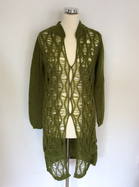 Passport Dark Green Long Cardigan Size 36 UK 10