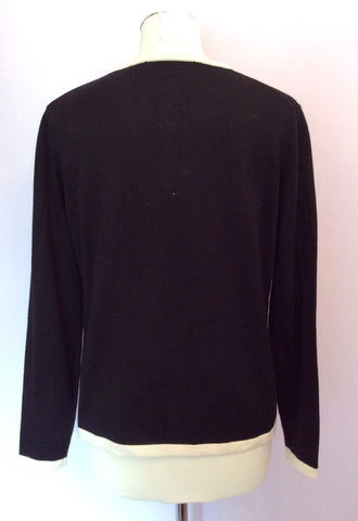 Black & White Trim Wool Cardigan Size 16 - Whispers Dress Agency - Womens Knitwear - 2