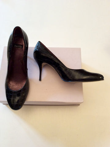 BERTIE BLACK CROC PATENT LEATHER HEELS SIZE 7/40 - Whispers Dress Agency - Womens Heels - 2