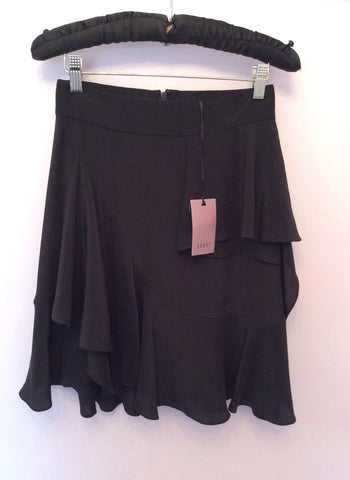Brand New Coast Black Silk Frill Trim Skirt Size 8 - Whispers Dress Agency - Womens Skirts - 1